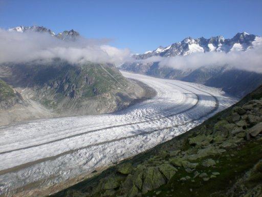 le glacier d'Aletsch mercredi 9 juillet 2008 vers 9h15  | photo JDG