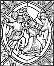 détail d'un vitrail de la cathédrale de Bourges - le martyr de Saint-Étienne (fin du XIIème siècle)