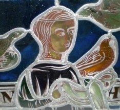 détail d'une copie d'un vitrail du XIIIème siècle de la cathédrale de Lausanne - cliquer pour agrandir l'image