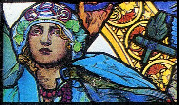 partie d'un vitrail art nouveau d'Alfons Maria Mucha (1860-1939), cathédrale Saint-Guy de Prague - cliquer pour voir l'ensemble