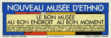 affiche d'Exem pour un nouveau musée d'ethnographie à Genève (2001)