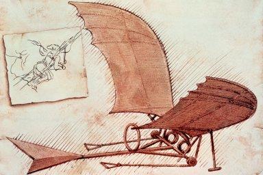 Leonardo da Vinci 1490 - machine volante - cliquer sur l'image pour l'agrandir