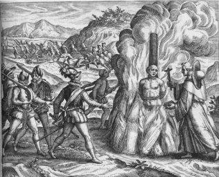 Campaña española de genocidio contra la población de Hispaniola (hoy Haití y la República Dominicana), ilustrada por Fray Bartolomé de las Casas -- cliquer pour agrandir l'image