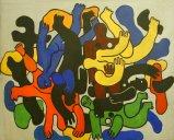 dans les années 1950, Marcel a peint,  sur les murs de sa salle d'attente, rue Léopold-Robert 50, de grands sujets de Fernand Léger,  dont celui-ci...