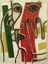 dans les années 1955-1960, Marcel a modelé en terre cet objet,  d'après un dessin de Fernand Léger servant à  illustrer le poeme Liberté de Paul Eluard,  puis l'a fait cuire par le potier de Chézard-St-Martin  - dimensions : 49,5 x 39 x 5,5 cm