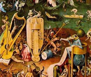 le jardin des délices, de Hieronymus Bosch (~1453-~1516), détail du panneau de droite