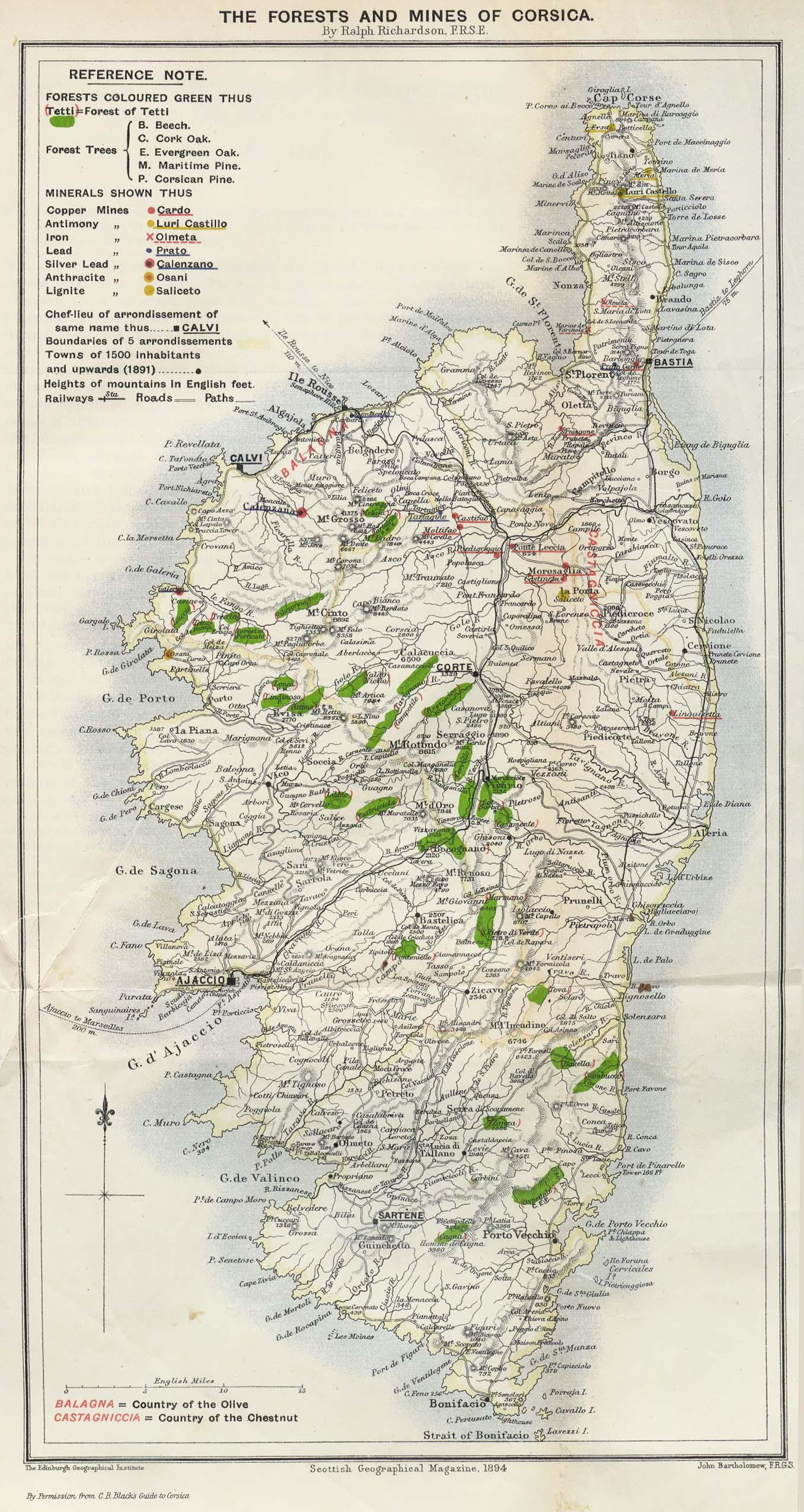 Cartes de Corse Cartes typographiques dtailles de Corse